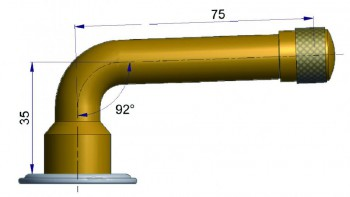 Шланговый вентиль изогнутый TRJ 1076 E R-0789-1